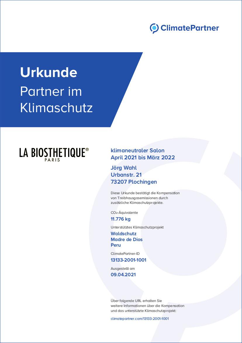 Friseur Plochingen Urkunde Partner im Klimaschutz